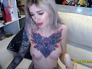 Tattooed YouTube Gamer Girl Dildo DP Masturbation Live